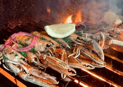 Lobsters on the grill at the Bothy Bistro