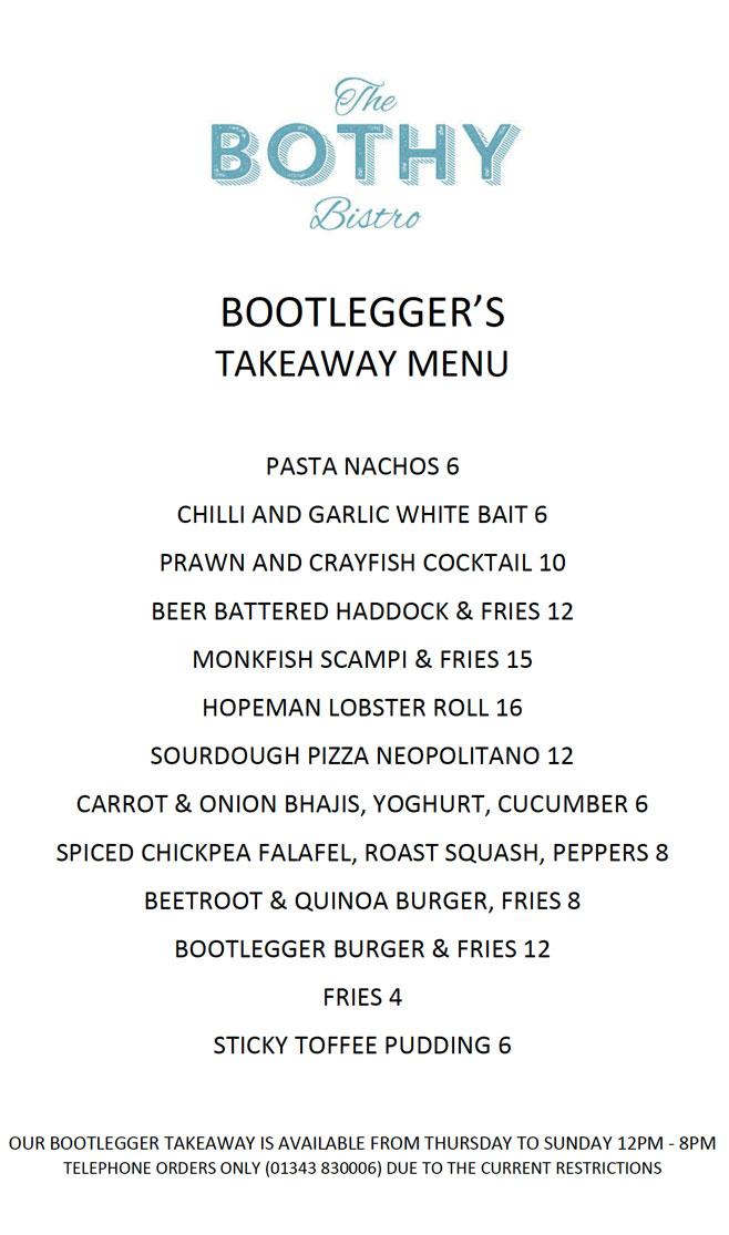 Takeaway menu the both bistro bootleggers